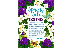 Vector spring sale poster flowers and butterflies