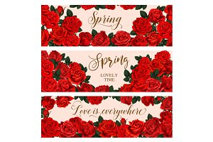 Red flower frame of Spring Season greeting banner
