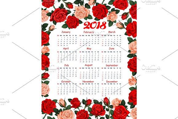Calendar 2018 Vector Floral Flowers Roses Design