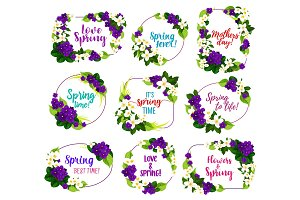 Flower blosoom frame icon of spring holiday design