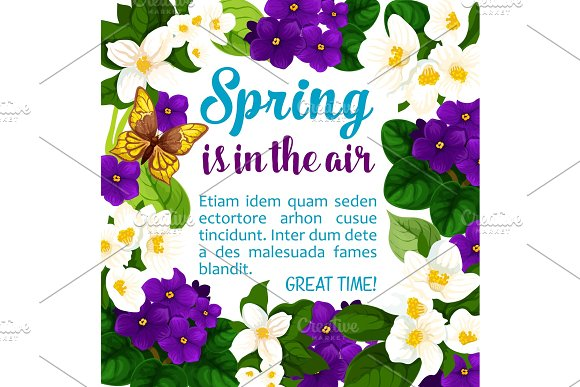 Vector Spring Holiday Flowers Bloom Poster
