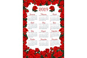 Floral calendar template in red rose flower frame