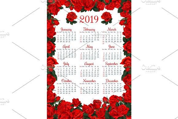 Floral Calendar Template In Red Rose Flower Frame