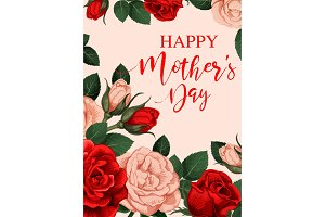 Rose flower greeting card of Mother Day holiday