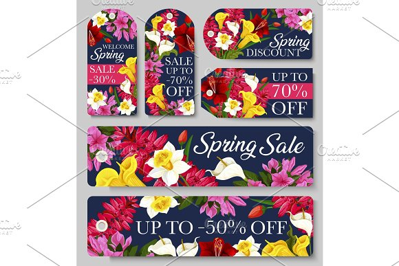 Sale Tag And Label Of Spring Season Discount Offer