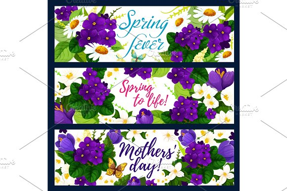 Spring Flower With Butterfly Greeting Banner