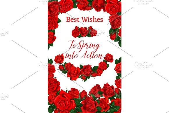 Vector Springtime Roses Flowers Frame Poster