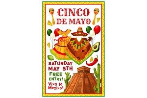 Cinco de Mayo Mexican vector party invitation