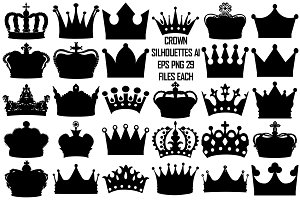 Black Crown Silhouette AI EPS PNG