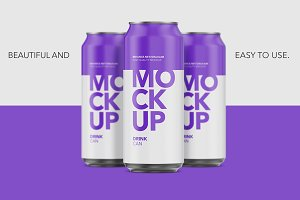 Matte Aluminium Can Mockup - 500ml