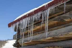 Log Cabin and Ice Sickles