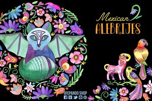 Mexican Alebrijes watercolor clipart