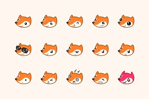 Fox set of icons emoticons