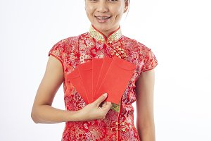 Happy chinese new year. smiling