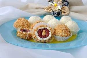 Cheese balls with cherries
