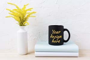 Black coffee mug mockup