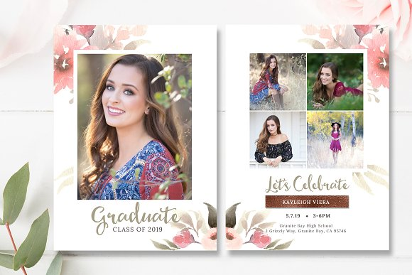 floral senior graduation invite psd card templates creative market