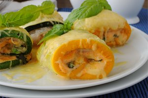 Zucchini rolls stuffed with cheese