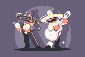 Mexican musicians in sombrero