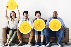 People holding currency icons