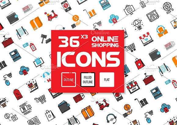 36x3 Online Shopping Icons