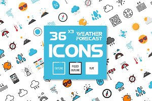 36x3 Weather Forecast icons