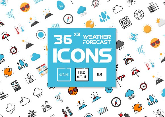36x3 Weather Forecast Icons