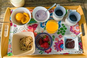 Top view of breakfast tray