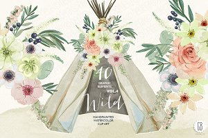Watercolor teepee, flowers Vol.4