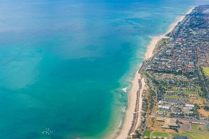 Aerial view of beautiful ocean coastline