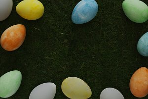 Easter eggs on moss background