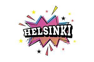 Helsinki Comic Text in Pop Art Style