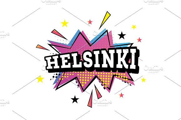 Helsinki Comic Text In Pop Art Style