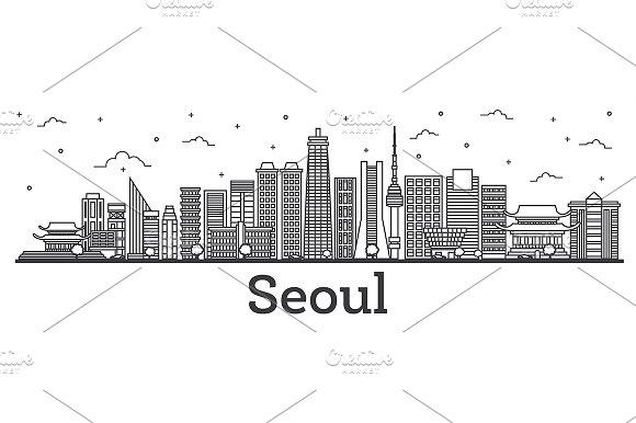 Outline Seoul South Korea City