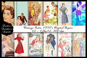 Retro Vintage 1950's Digital Papers