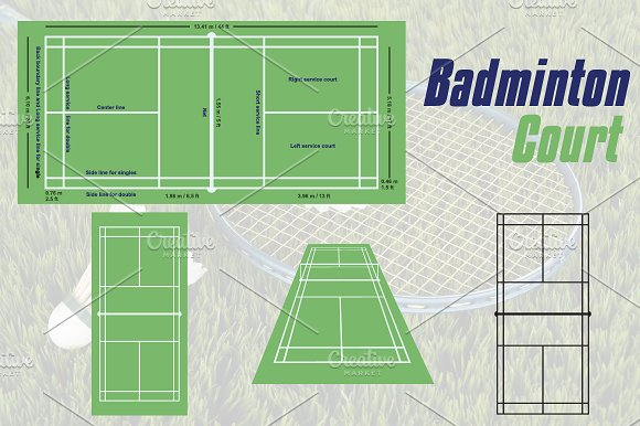 Badminton Field Court Illustration