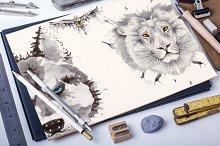 Set of 6 vector watercolor animals