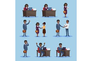 Black businesspeople in set of icons