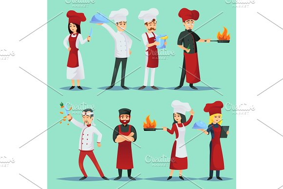 Chefs Of Different Cuisines In Icon Set