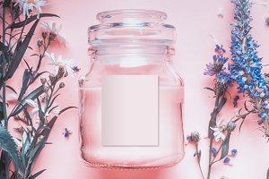 Herbal cosmetic jar mock up