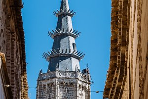 Picturesque view of the tower of the Cathedral of Toledo