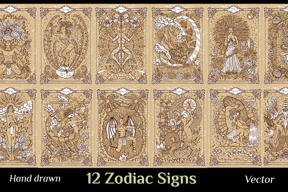 Zodiac Signs On Old Texture