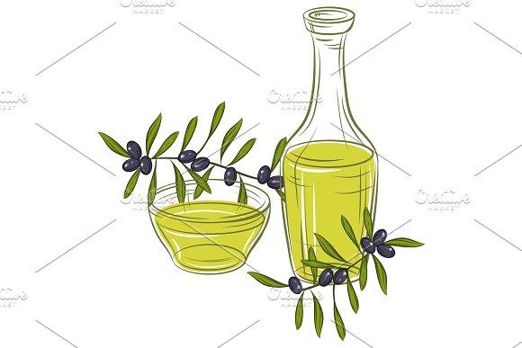 Ilustration With Black Olives And Bottle Of Oil