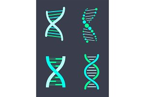 DNA Chain Variations of Bright Turquoise Color Set