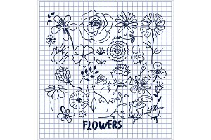 Set of Hand Drawn Flowers Vector Illustration