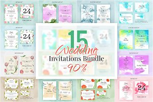 15 Wedding invitations. Bundle