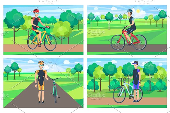 Cyclists And Sunny Day Posters Vector Illustration