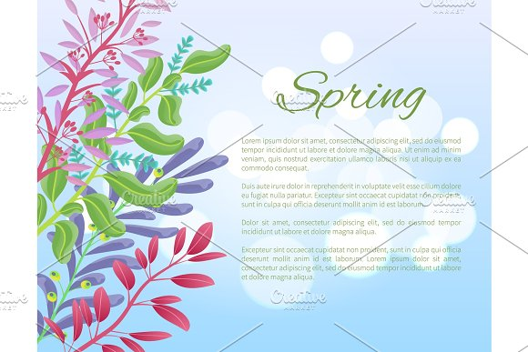 Bright Spring Banner With Green Branches And Herbs