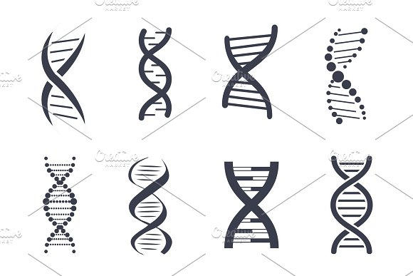 Collection of DNA Deoxyribonucleic Acid Chain Logo