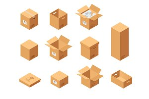Carton packaging boxes set. Isometric view. Different size and format. Closed and open packages on white background.